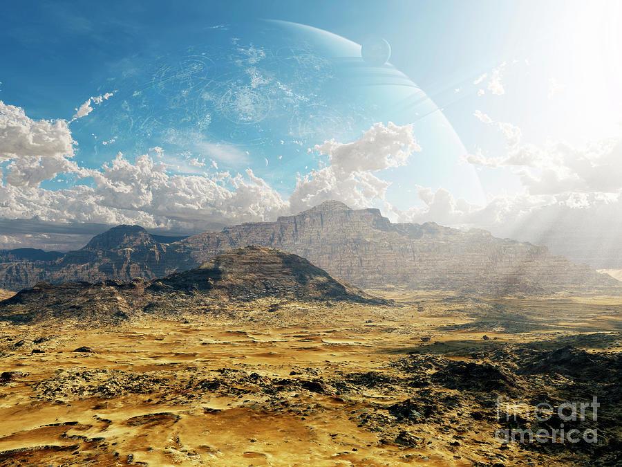 Artwork Digital Art - Clouds Break Over A Desert On Matsya by Brian Christensen