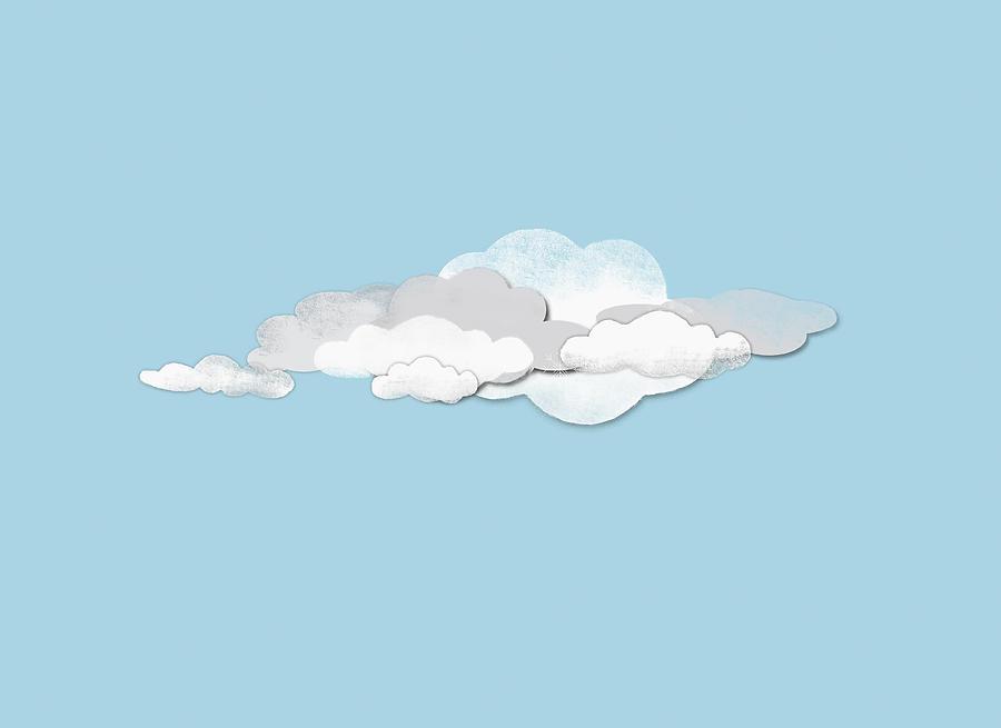 Horizontal Digital Art - Clouds by Jutta Kuss