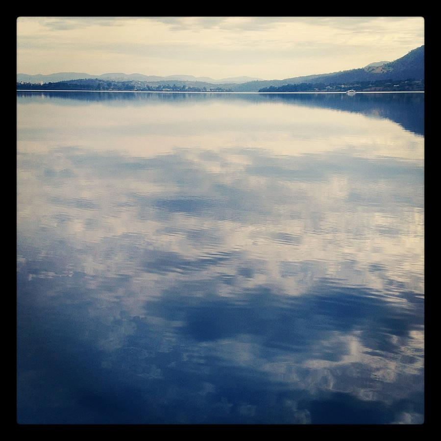 Square Photograph - Clouds Reflected On River by Jodie Griggs