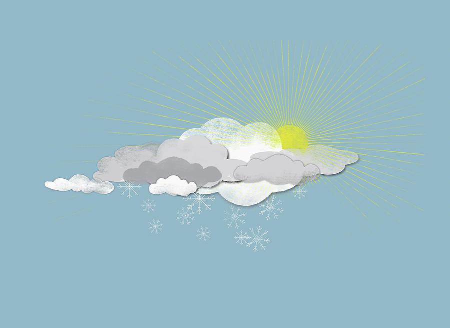 Horizontal Digital Art - Clouds, Sun And Snowflakes by Jutta Kuss