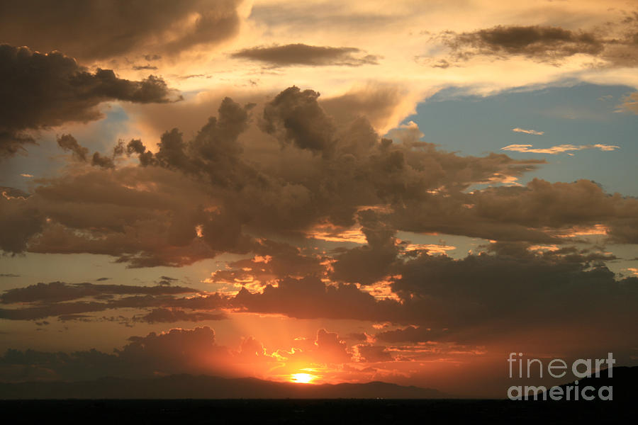 Sunset Photograph - Cloudy Orange Sunset by Cassandra Lemon