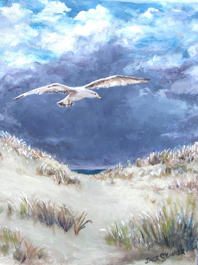 Seagull Painting - Cloudy With A Chance Of Seagulls by Jack Skinner