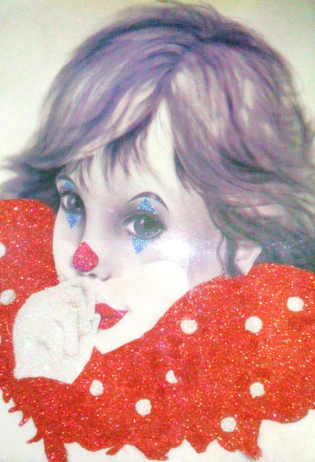 White Painting - Clown Baby by Unique Consignment