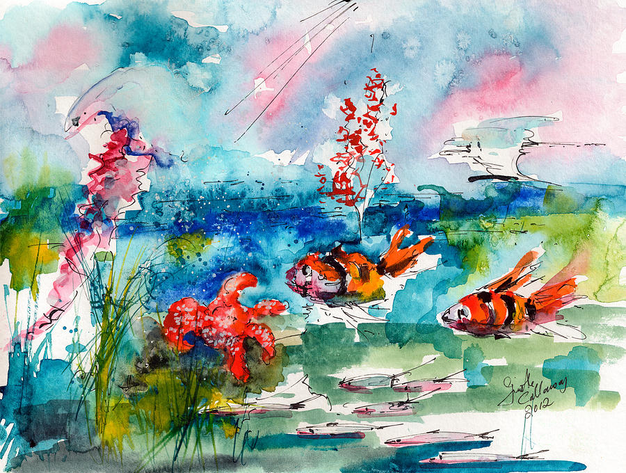 2012 Painting - Clown Fish Deep Sea Watercolor by Ginette Callaway