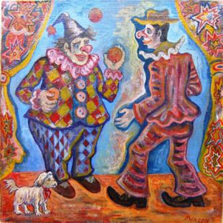 Clowns Painting - Clowns by Milen Litchkov