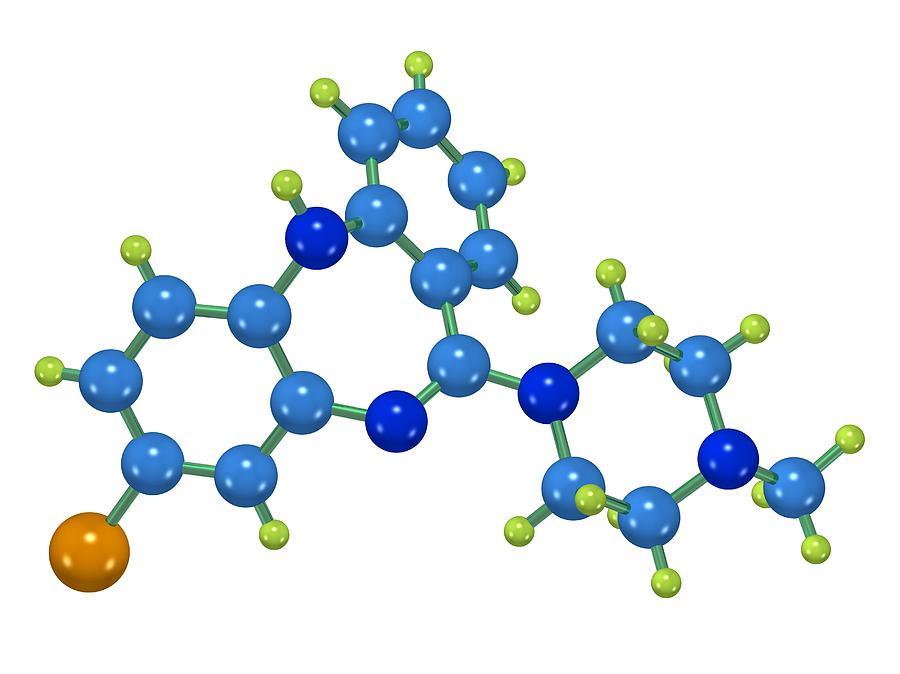 Clozapine Photograph - Clozapine Antipsychotic Drug Molecule by Dr Mark J. Winter