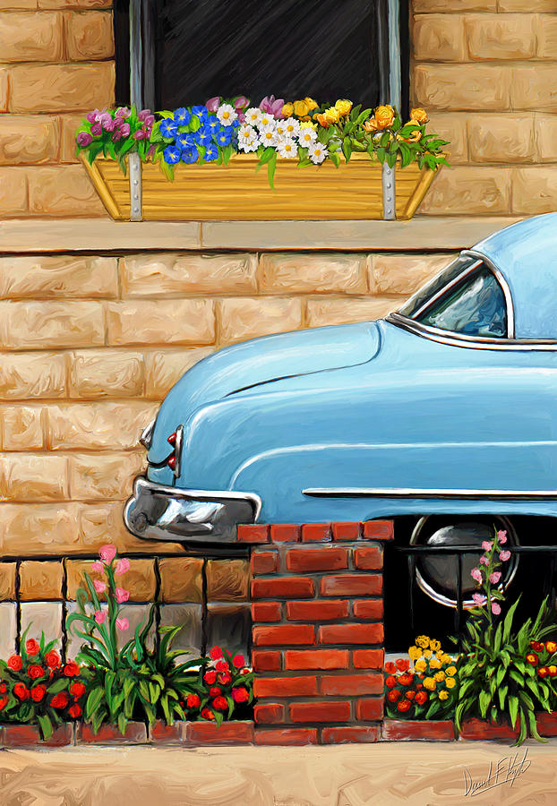 Old Car Painting - Clunker In The Garden by David Kyte