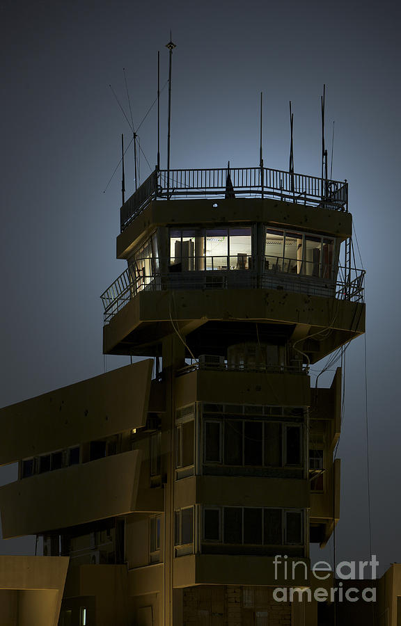 Night Photograph - Cob Speicher Control Tower by Terry Moore
