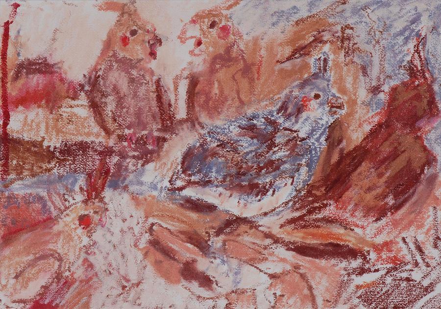 Bird Drawing - Cockatiels In Lipstick by Iris Gill