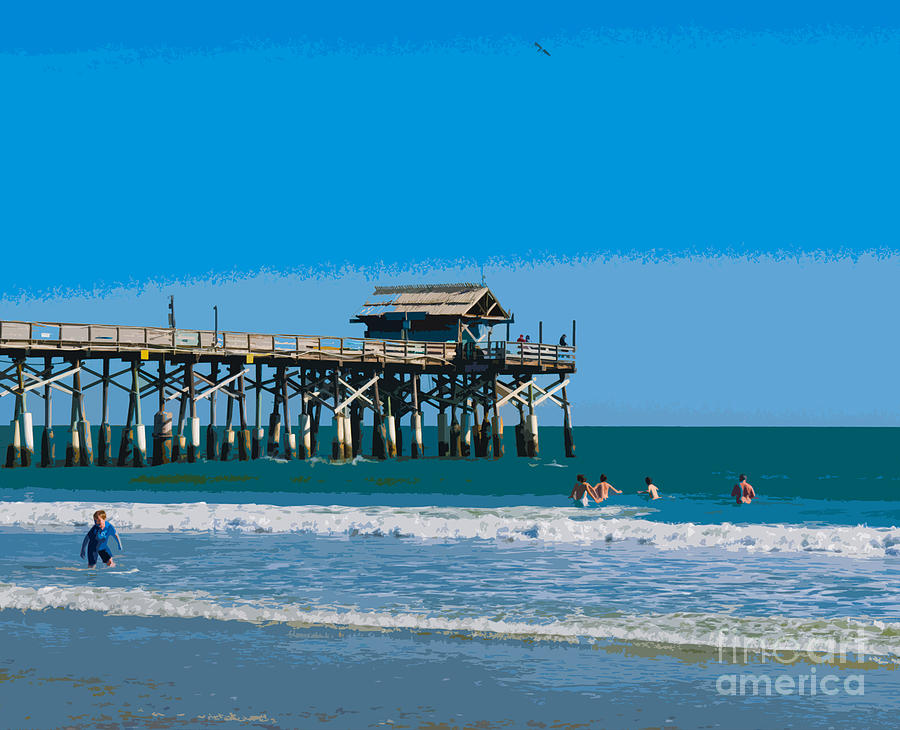 Cocoa Beach Pier Florida Painting By Allan Hughes