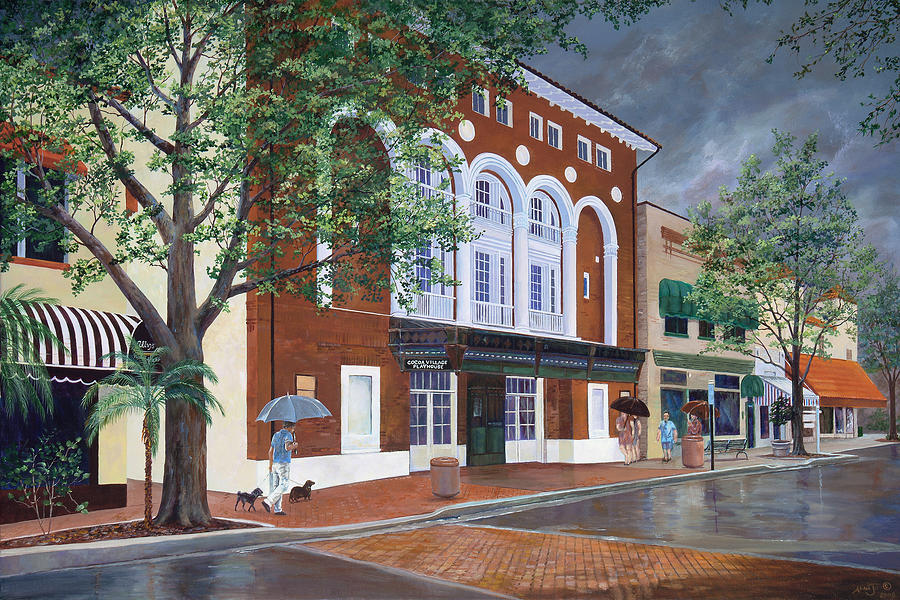 Florida Painting - Cocoa Village Playhouse by AnnaJo Vahle