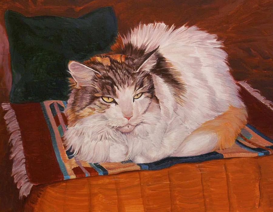 Maine Coon Painting - Cody Is Just Chillin by Shawn Shea