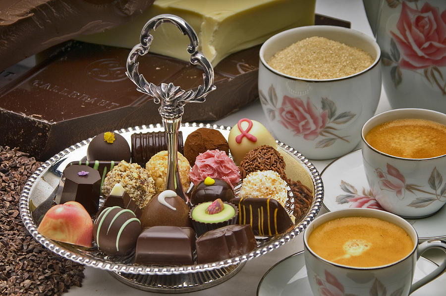 Chocolate Photograph - Coffee And Chocolates by Frank Lee