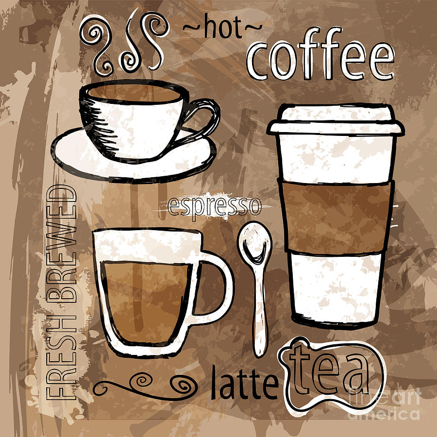 Coffee and tea digital art by hd connelly for Tea and coffee wall art