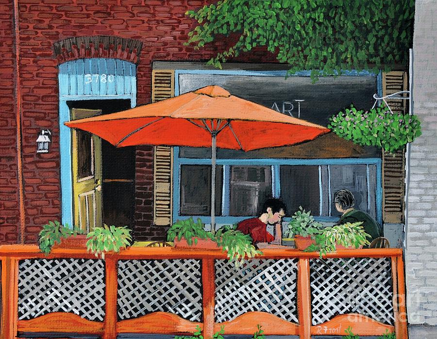 Montreal Painting - Coffee At Nu Art Cafe Verdun by Reb Frost