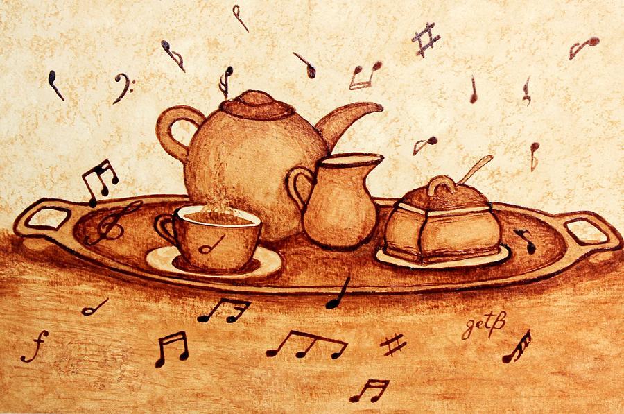 Coffee Break Painting - Coffee Break 2 Coffee Painting by Georgeta  Blanaru