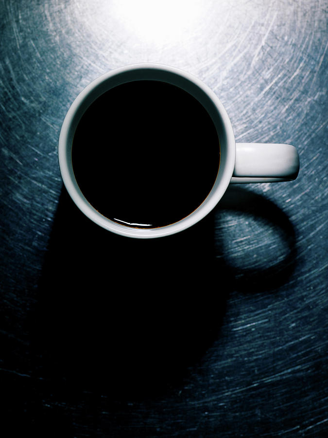 Vertical Photograph - Coffee Cup On Stainless Steel. by Ballyscanlon