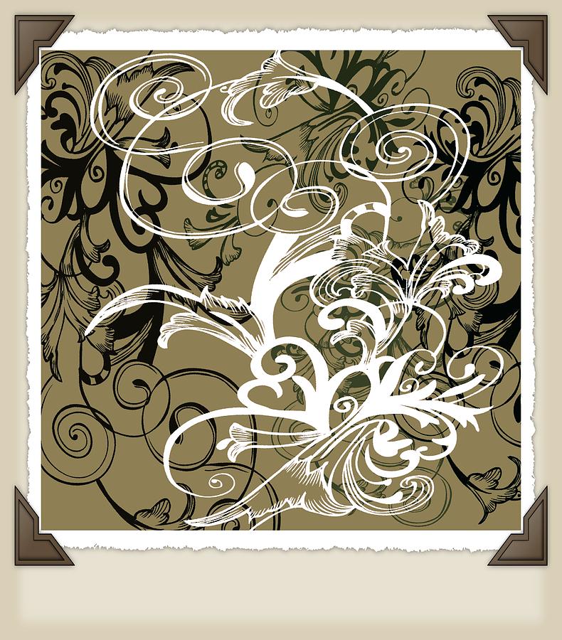 Intricate Digital Art - Coffee Flowers 1 Olive Scrapbook by Angelina Tamez