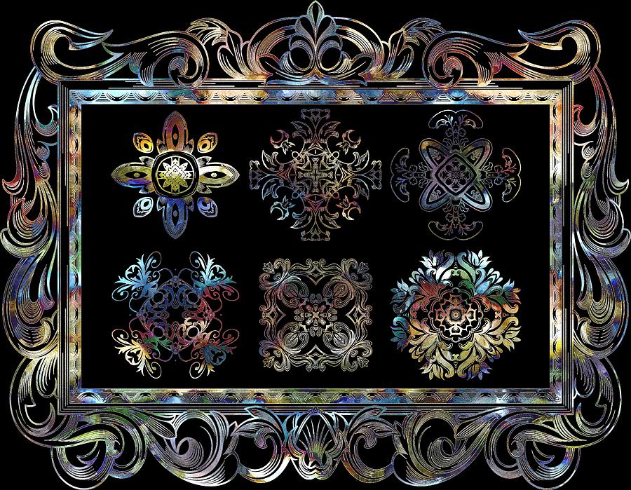 Intricate Digital Art - Coffee Flowers Ornate Medallions 6 Piece Collage Aurora Borealis by Angelina Vick