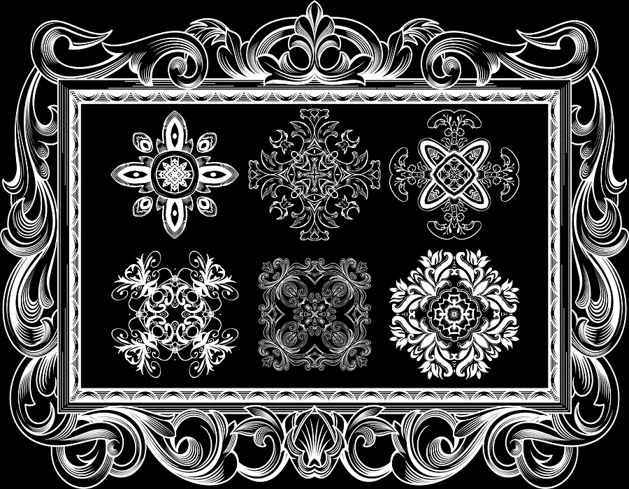 Intricate Digital Art - Coffee Flowers Ornate Medallions Bw 6 Piece Collage Framed  by Angelina Vick