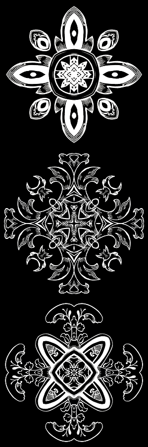 Intricate Digital Art - Coffee Flowers Ornate Medallions Bw Vertical Tryptych 1 by Angelina Vick