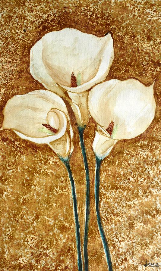 Anthurium Flowers Painting - Coffee Painting - Flowers by Rejeena Niaz