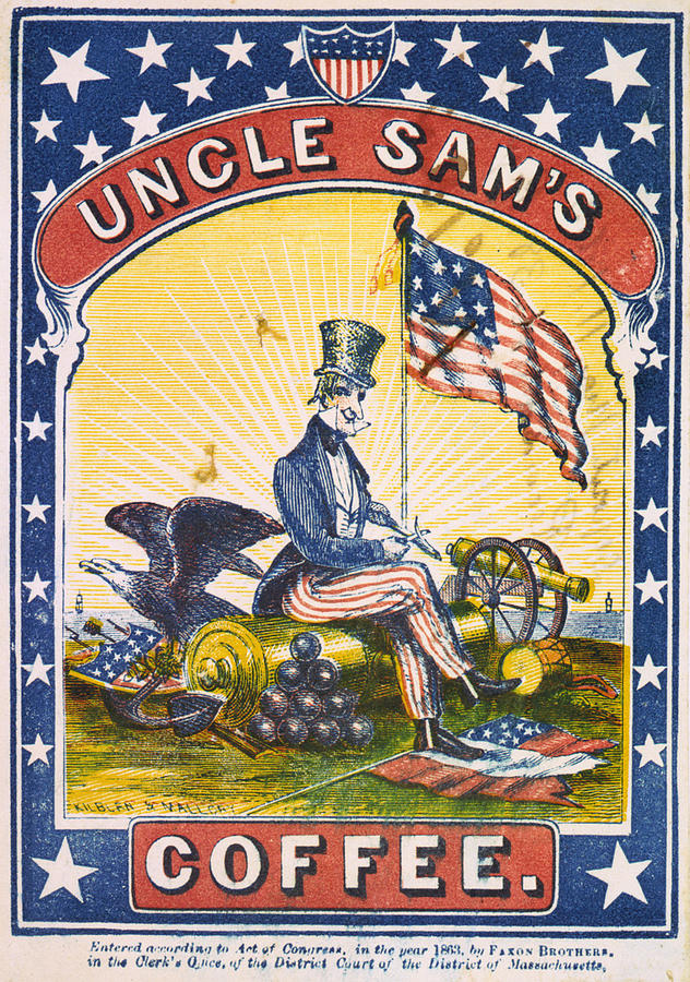 1860s Photograph - Coffee, Uncle Sams Coffee, Illustrated by Everett