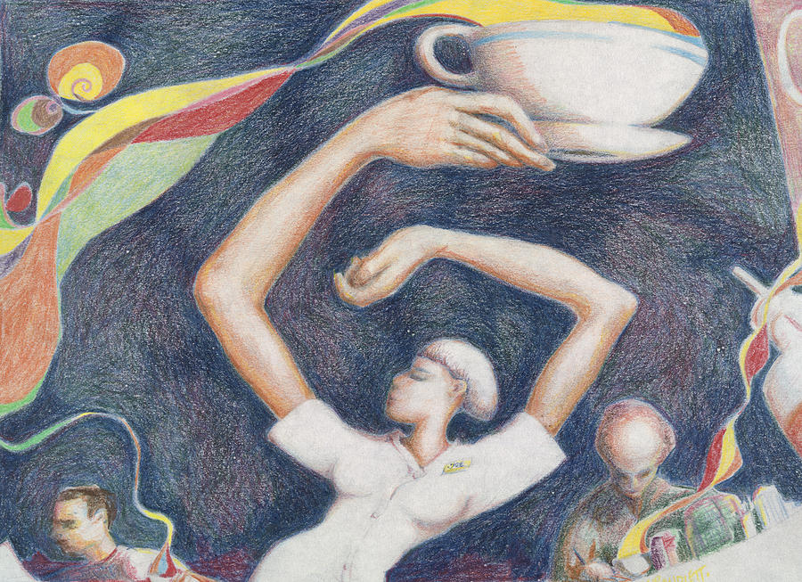 Coffee Cup Waitress Hippie Dance Trance Drawing - Coffee by Vincent Randlett III