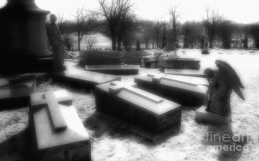 Graveyards Photograph - Coffins And Angel by Jeff Holbrook