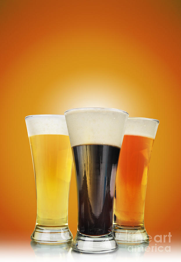Bar Photograph - Cold Alcohol Beer Drinks On Gold by Angela Waye