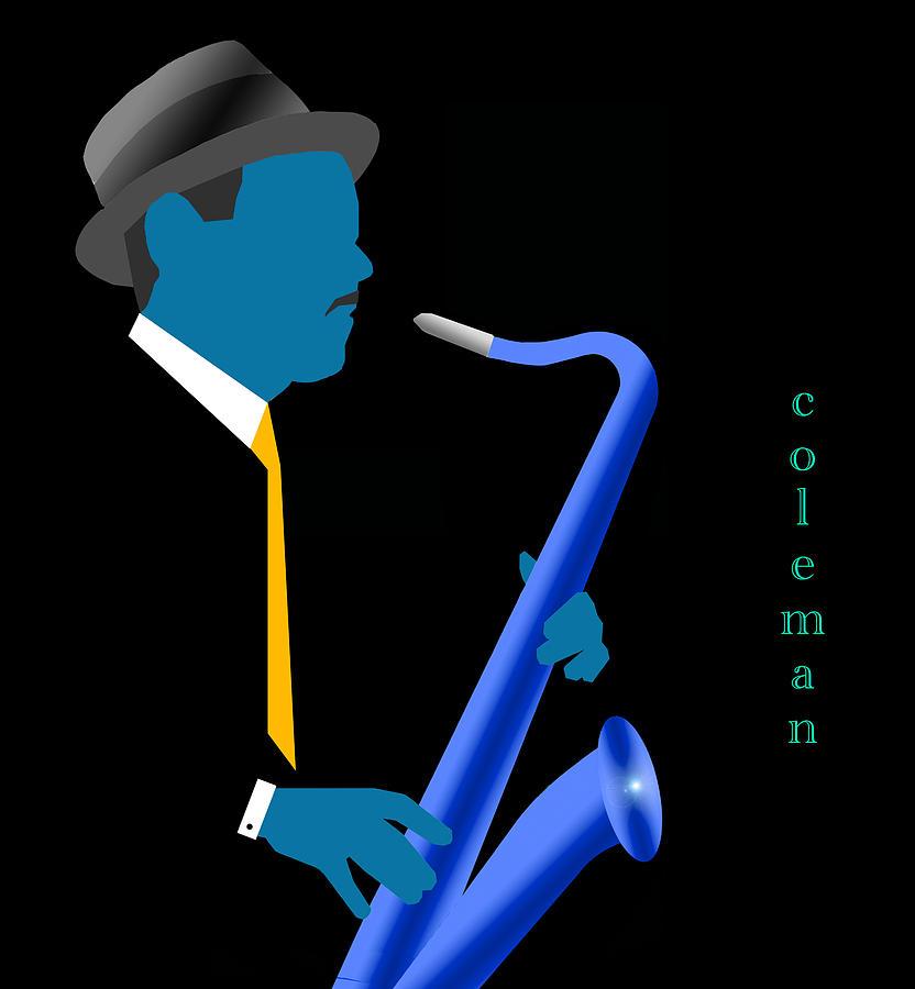 Jazz Digital Art - Coleman Hawkins Blue by Victor Bailey