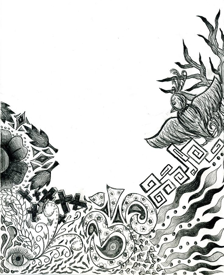 Sketch Drawing - Collage Of Symbols by Tessa Hunt-Woodland