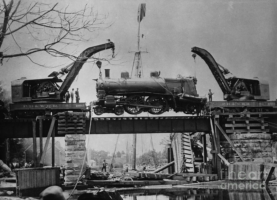Historic Photograph - Collapsed Bridge And Train Recovery by M E Warren and Photo Researchers