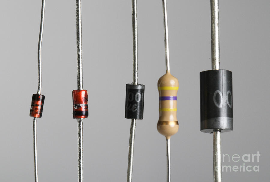 Alternating Current Photograph - Collection Of Electronic Components by Photo Researchers