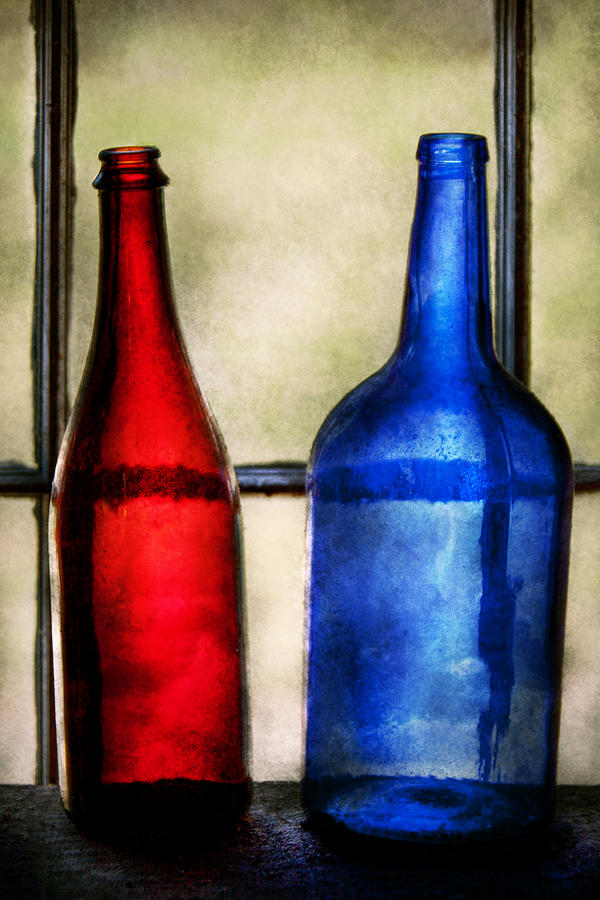 Wine Photograph - Collector - Bottles - Two Empty Wine Bottles  by Mike Savad