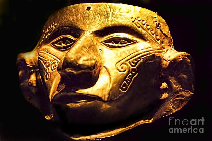 Ancient Photograph - Colombian Gold Mask  by Alexandra Jordankova