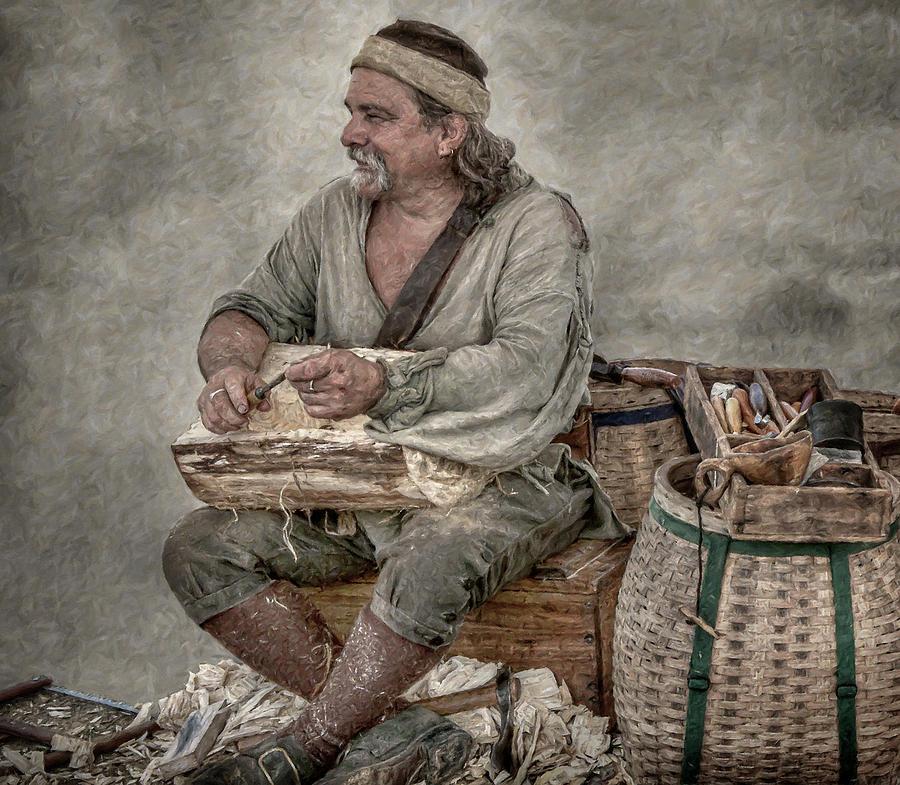 Woodcarver Digital Art - Colonial Woodcarver Portrait by Randy Steele