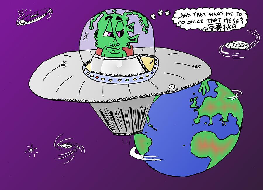 colonize earth cartoon drawing by yasha harari