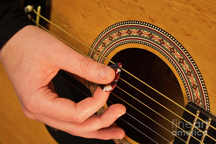 Guitar Photograph - Color Guitar Picking by Michael Waters
