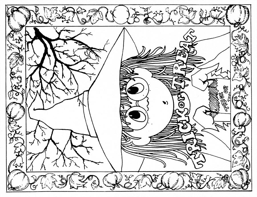 b w drawing color me card halloween by sher sester - Pictures To Color For Halloween