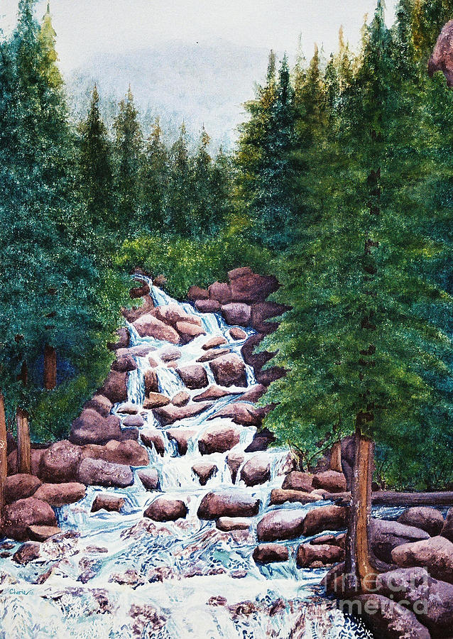 Mountain Painting - Colorado Falls by Vikki Wicks