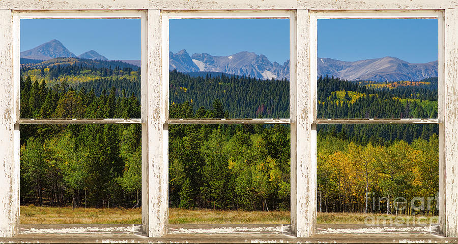 Window Photograph - Colorado Indian Peaks Autumn Rustic Window View by James BO  Insogna