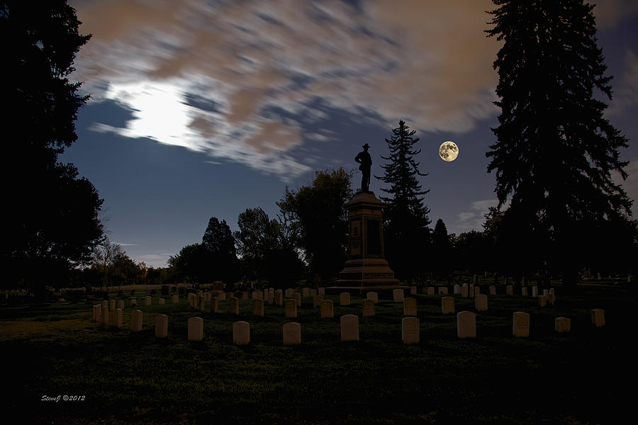 Full Moon Photograph - Colorado Volunteers Under The Full Moon by Stephen  Johnson