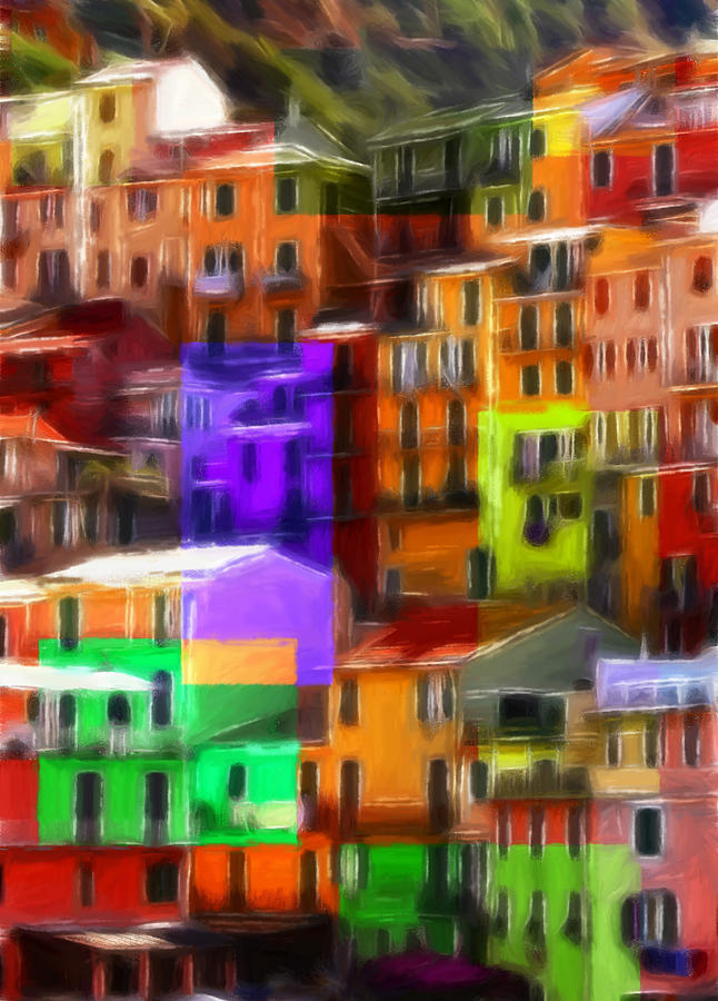 Pastel Pastels Oil Painting Drawing Art House Building Window Windows Color Colorful Abstract Reflection Modern Romania Italy City Town Architecture  Pastel - Colored Windows by Steve K