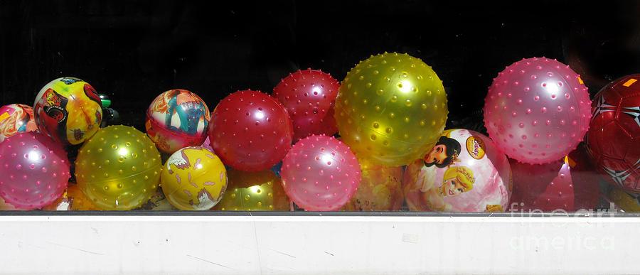 Still Life Photograph - Colorful Balls In The Shop Window by Ausra Huntington nee Paulauskaite