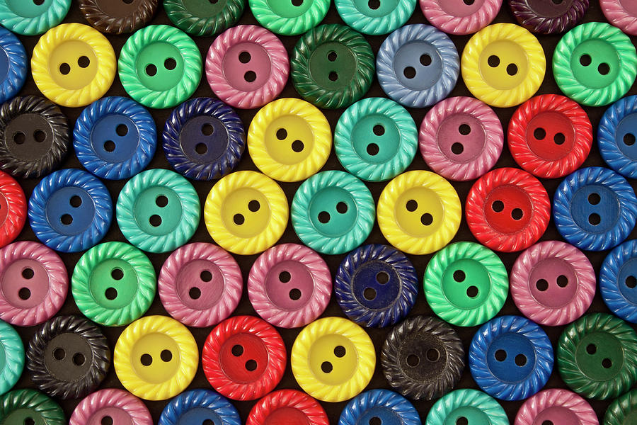 Horizontal Photograph - Colorful Buttons by Jeff Suhanick