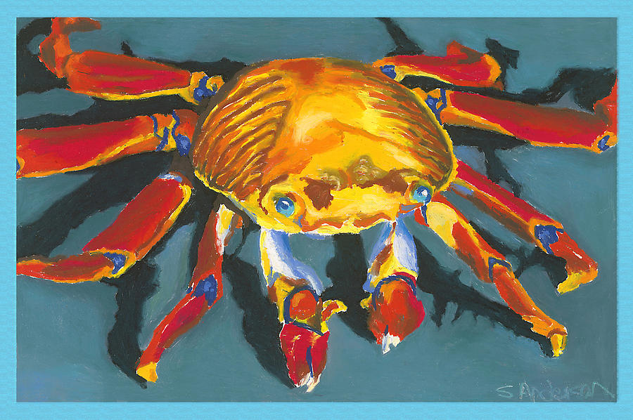 Crab Painting - Colorful Crab With Border by Stephen Anderson