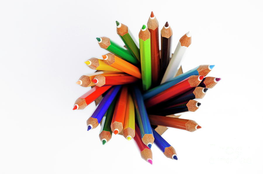 Variation Photograph - Colorful Crayons In Jar by Sami Sarkis