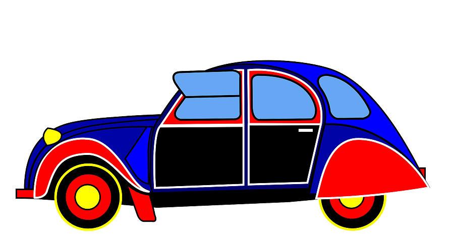 Iconic Digital Art - Colorful Darling - Virtual Car by Asbjorn Lonvig