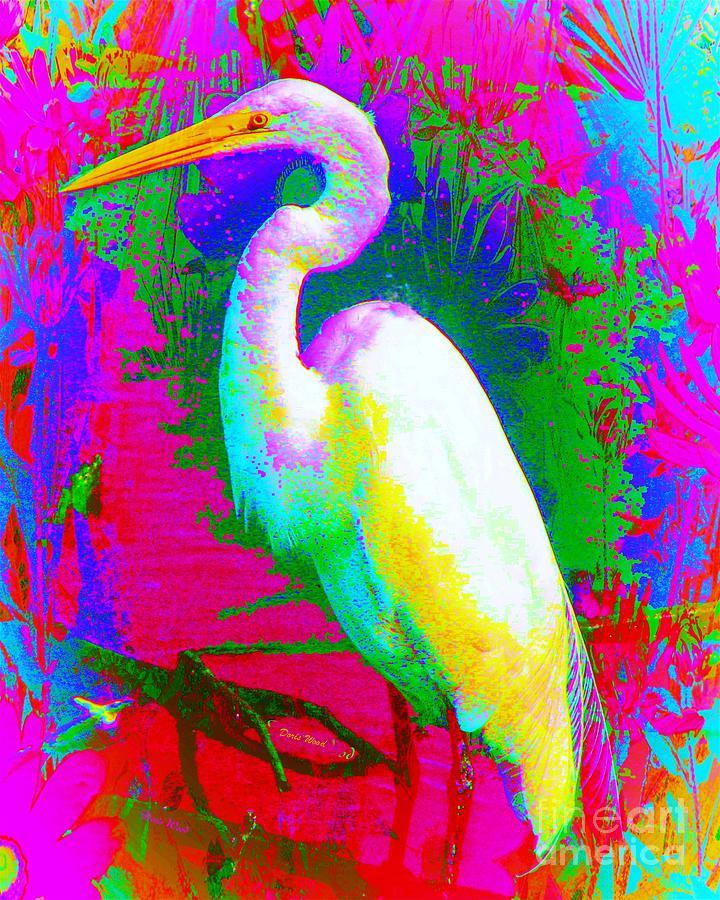 Digital Digital Art - Colorful Egret by Doris Wood